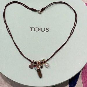 Tous Brown Cord Necklace with Charms